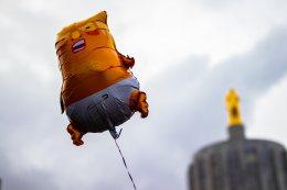 Trump balloon flying in the sky!