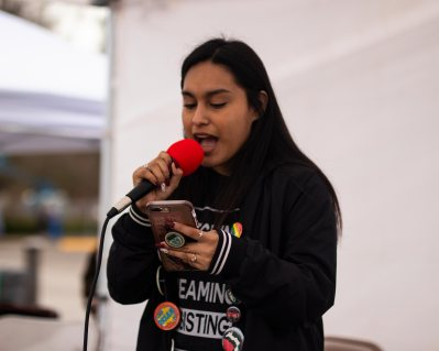 Maria Reyes Patino translated in Spanish for all of the other speakers, but she also gave her own speech regarding the struggles illegal immigrants are facing.